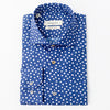 A navy blue Bomonti slim sport shirt with white polka dots
