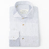 A white Bomonti slim sport shirt with a navy checkered pattern.