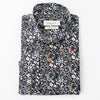 A black Bomonti slim, cotton sport shirt with a floral pattern.