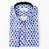 A white Bomonti cotton slim sport shirt with a navy and royal blue pattern
