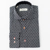 A black Bomonti cotton slim sport shirt with a star pattern
