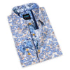 This blue and beige floral pattern sport shirt from Scoop is a perfect pairing with a classic DFR89 denim blue jean.