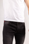 DFR89 stretchy, premium denim jeans, black/grey. Built for style and comfort
