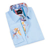This sky blue dress shirt from Scoop is a great, versatile piece for any man's wardrobe. This men's top can be worn dressed up with a tie and blazer, or more casual as an open-collar look to show the funky, floral pattern.