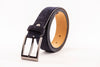 Differ navy Leather Belt, made for casual pants, jeans, and dress pants