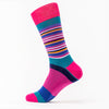 Differ 1989 Funky Socks, Purple and Multi-Colour Stripes, made of cotton. Can be worn with formal and business-casual outfits
