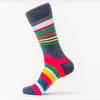 Differ 1989 Funky Socks, Grey with Multi-Colour Stripes, made of cotton. Can be worn with formal and business-casual outfits