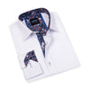 This white dress shirt from Scoop is a great, versatile piece that can be worn open collar to display the floral cuff and collar patterns, or paired with a tie and navy sport jacket for a more business casual look.