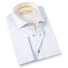Made up of a beautiful Italian 2-Ply cotton, this elegant slim fit dress shirt from Leneveu Couture is a must-have for your businesswear wardrobe. With blue stripe pattern and french cuffs, this dress shirt looks great when paired with a solid or checkered navy blue or charcoal grey suit.