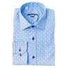 Differ 1989 Blue Polka-Dot Dress Shirt, cotton, semi-slim, that can be easily paired with jeans and suits
