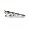 A classic, silver tie bar with a subtle stripe design. Packaged in a gift box.