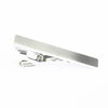 A classic, silver tie bar. Packaged in a gift box.