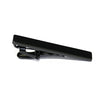 A modern, sleek black tie bar, meant to complement any black or grey suit.