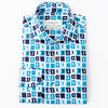 Bomonti sport shirt with navy and teal pattern.