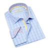 Made up of a beautiful Italian 2-Ply cotton, this elegant, blue checkered dress shirt from Leneveu Couture is a must-have for your businesswear wardrobe.