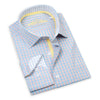 Made up of a beautiful Italian 2-Ply cotton, this elegant, blue and yellow checkered dress shirt from Leneveu Couture is a must-have for your businesswear wardrobe.