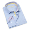 Made up of a beautiful Italian 2-Ply cotton, this elegant blue checkered dress shirt from Leneveu Couture is a must-have for your businesswear wardrobe.