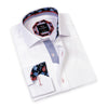 This Di Nero white dress shirt is a versatile men's top that can be worn in any setting. With a soft, checkered cotton fabric, it can be worn with a tie and sport jacket, or navy DFR89 denim jeans and left open-collared.