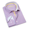 Made up of a beautiful Italian 2-Ply cotton, this fun fuchsia dress shirt from Leneveu Couture is a must-have for your businesswear wardrobe. With a pink stripe pattern, this dress shirt looks great when paired with a solid navy blue or charcoal grey suit.