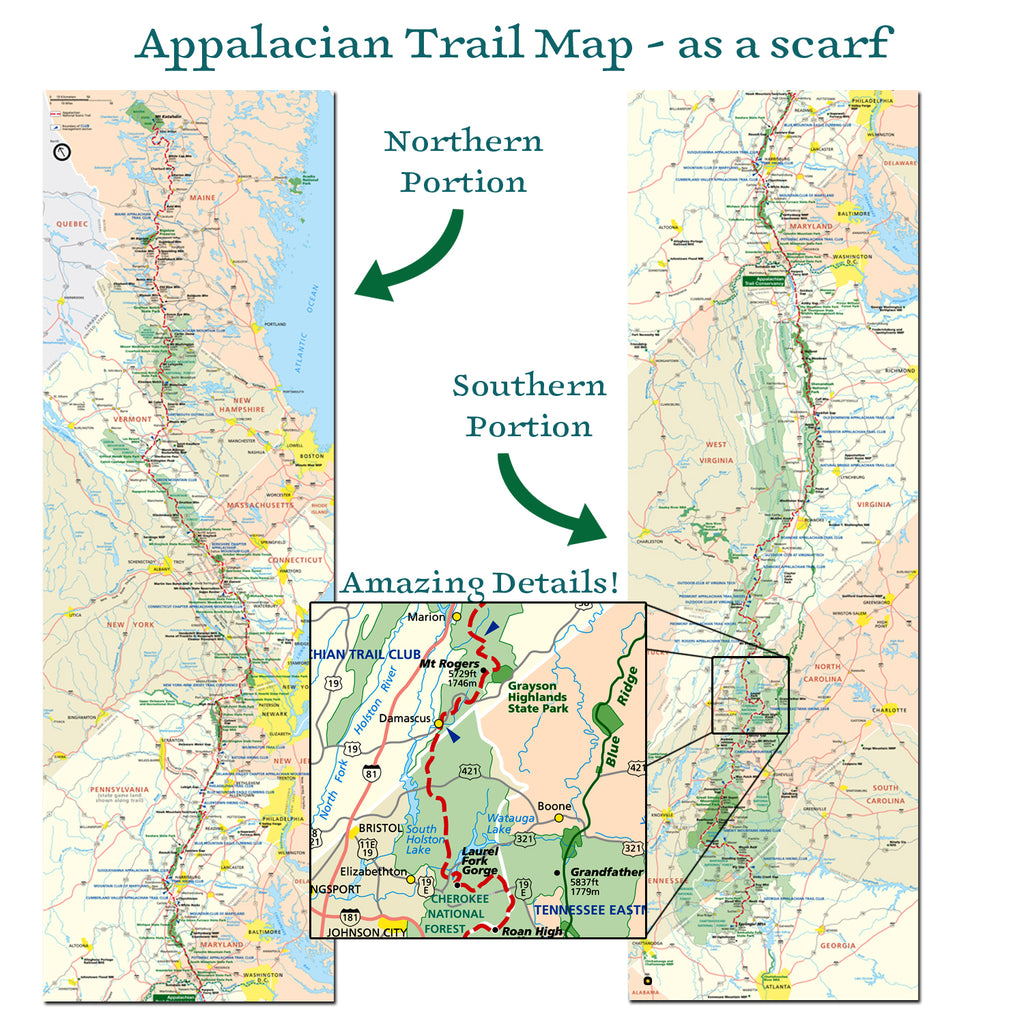 Appalachian Trail Map Scarf