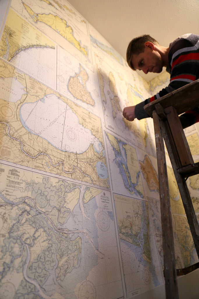 Nautical chart wall paper installation