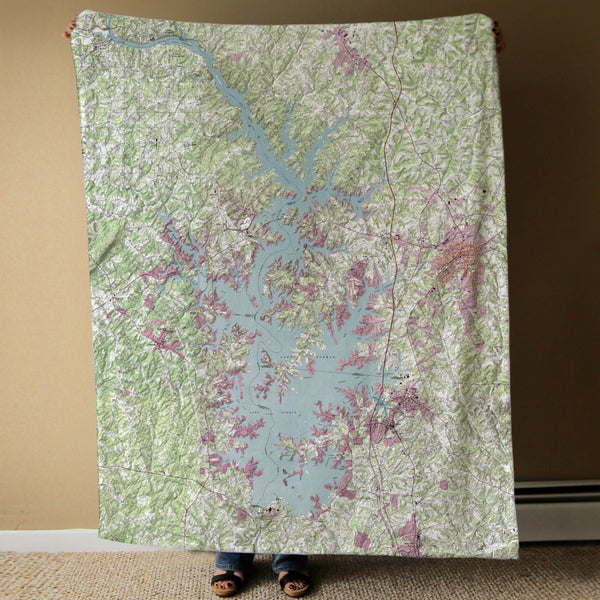 Lake Norman Map Blanket