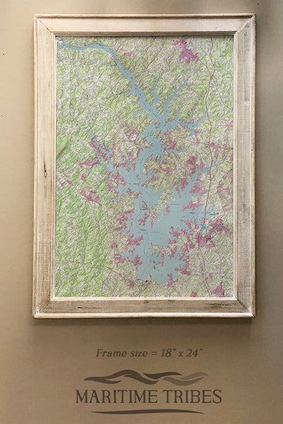 Lake Norman Topo Framed Map