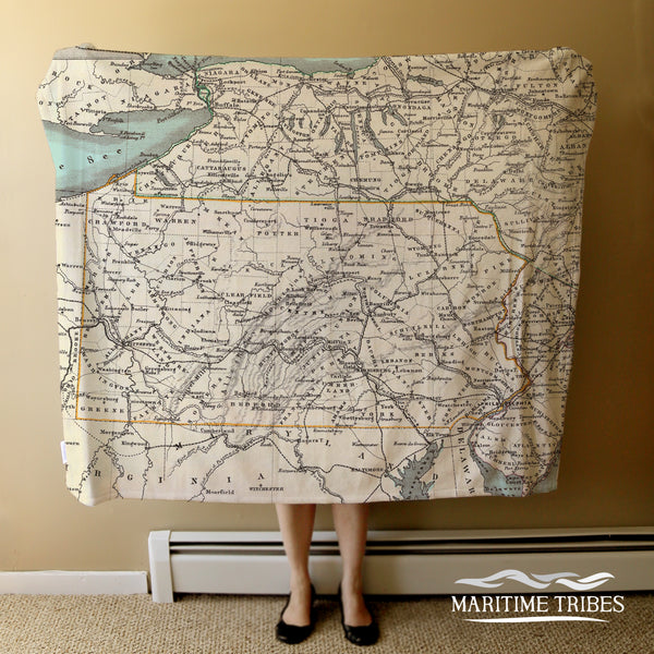Pennsylvania Vintage State Map Blanket