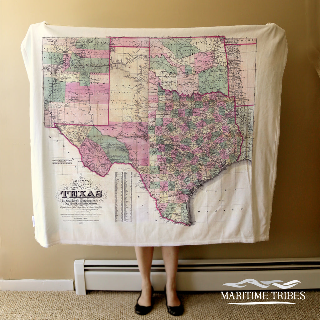 Texas State Vintage Map Blanket