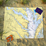 Northern Neck Nautical Chart Blanket