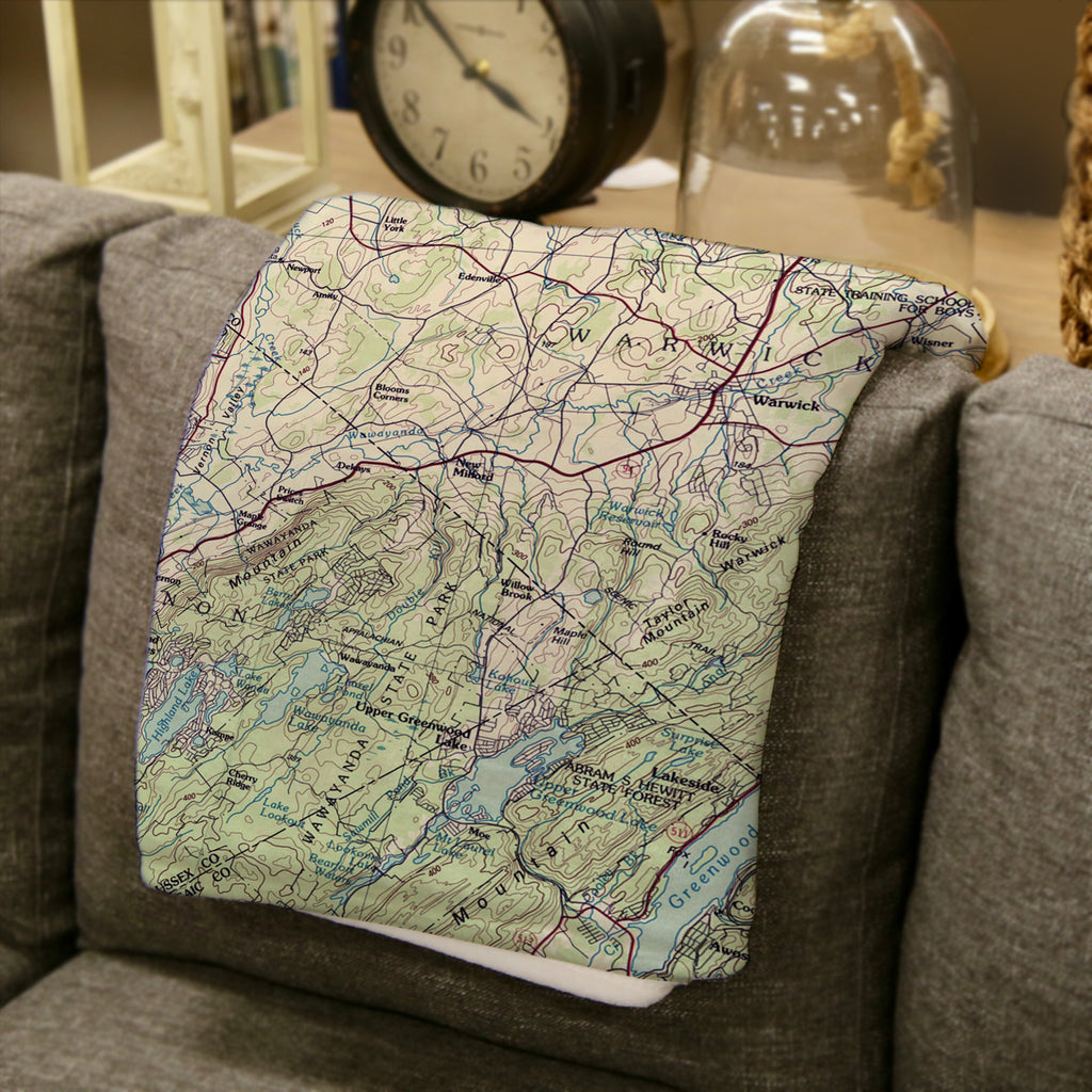 Warwick, New York Topographical Map Blanket