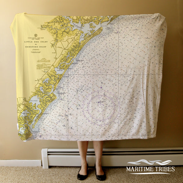 Avalon Nautical Chart Map Blanket