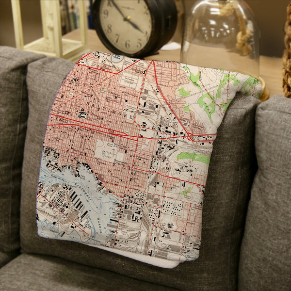 Baltimore Vintage Topo Map Blanket