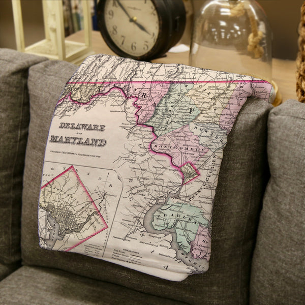 Maryland, Delaware & DC Vintage State Map Blanket