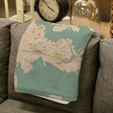 Baltimore Sea Glass Map Blanket