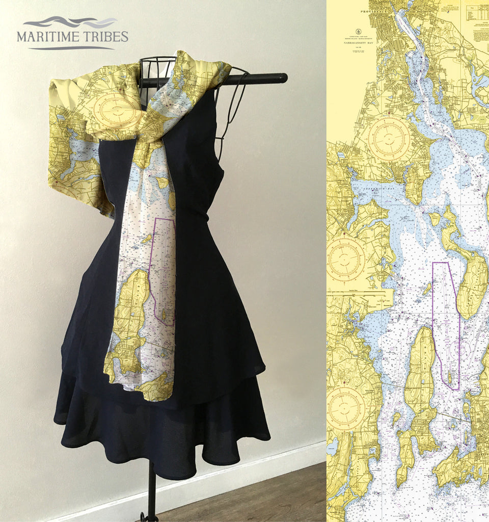 Pawtuxet Village RI, Vintage Nautical chart Scarf