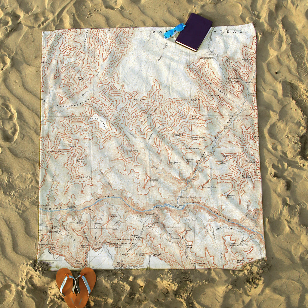 Grand Canyon Vintage Map Blanket