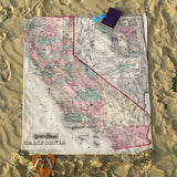 California Vintage Map Blanket