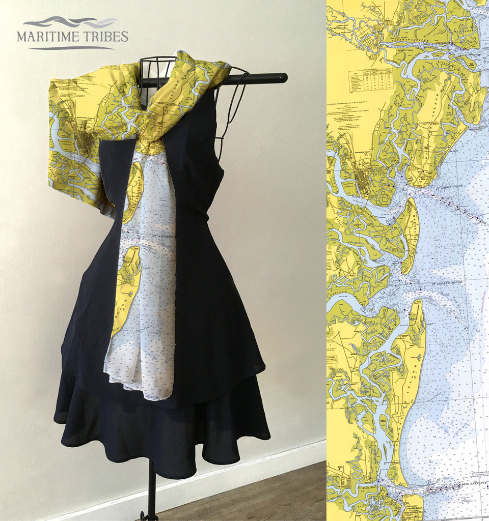 Doboy Sound to Fernandina Map Scarf