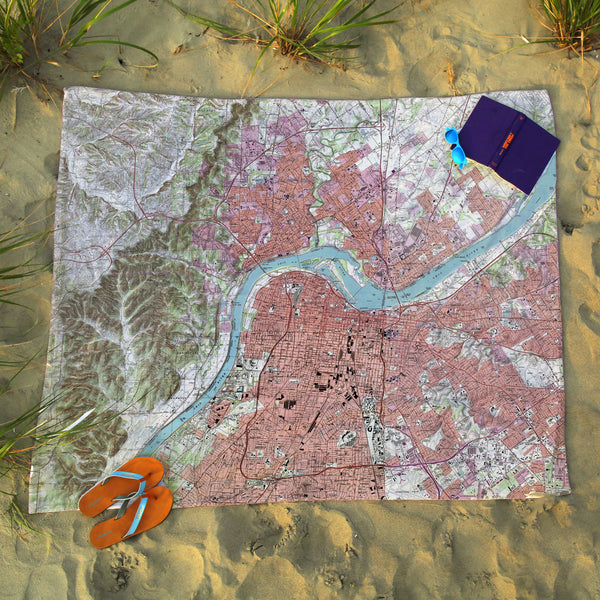 Louisville Topographical Map Blanket
