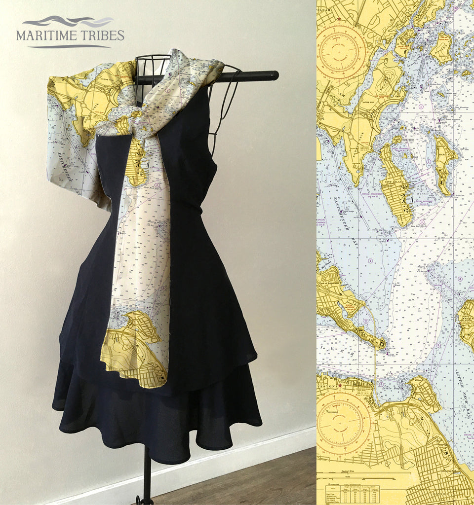 City Island with Pelham, NY Nautical Chart Scarf