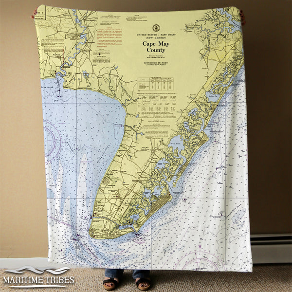 Cape May, NJ County Nautical Chart Blanket