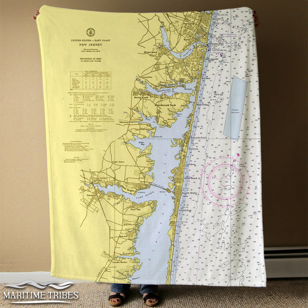 Island Heights, Seaside Park, NJ Vintage Nautical Chart Blanket