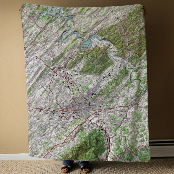 Johnson City, TN Topo Map Blanket Blanket