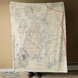 Newport Vintage Topographical Map Blanket