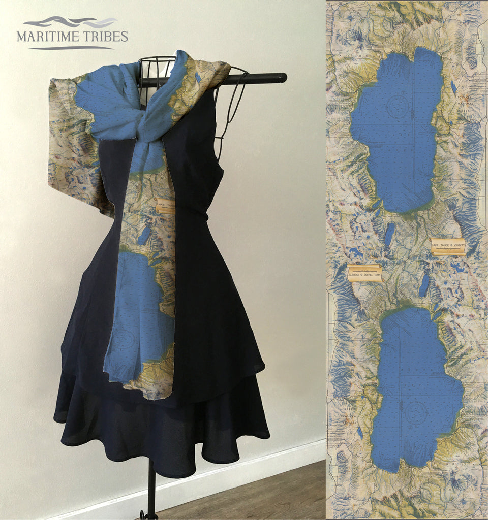 Lake Tahoe, CA Vintage Map Scarf