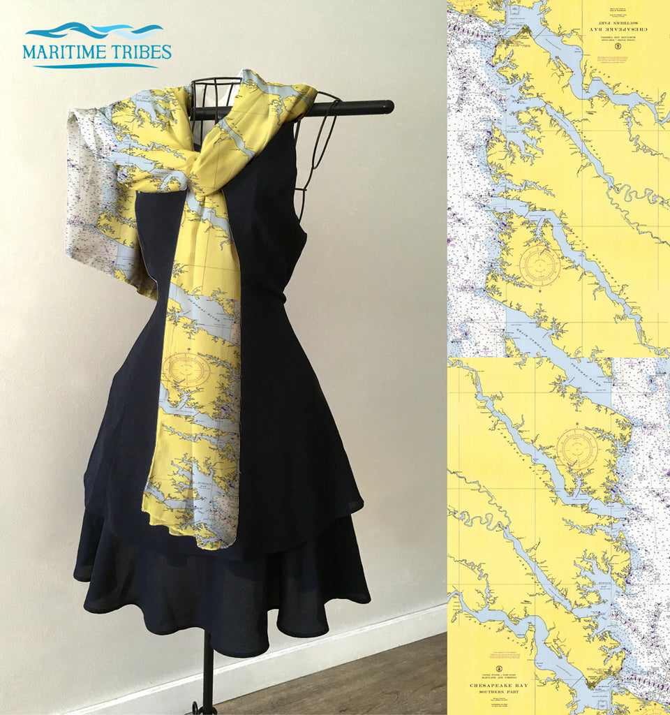 Chesapeake Bay, Southern Part  Map Scarf