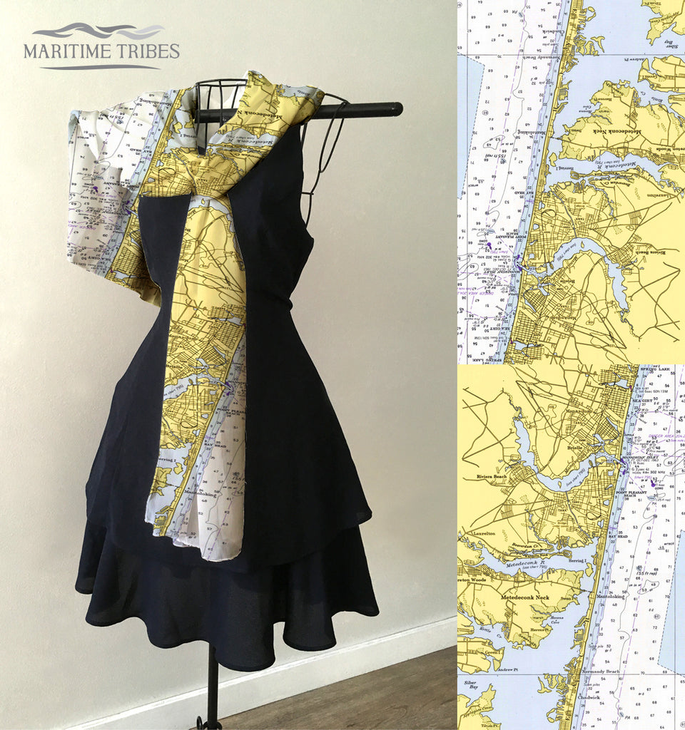 Mantoloking,  NJ Vintage Nautical Chart Scarf