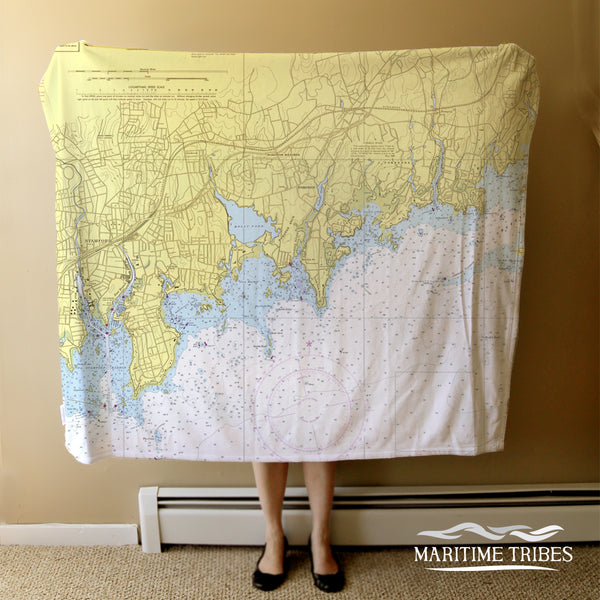 Darien, CT Nautical Chart Blanket