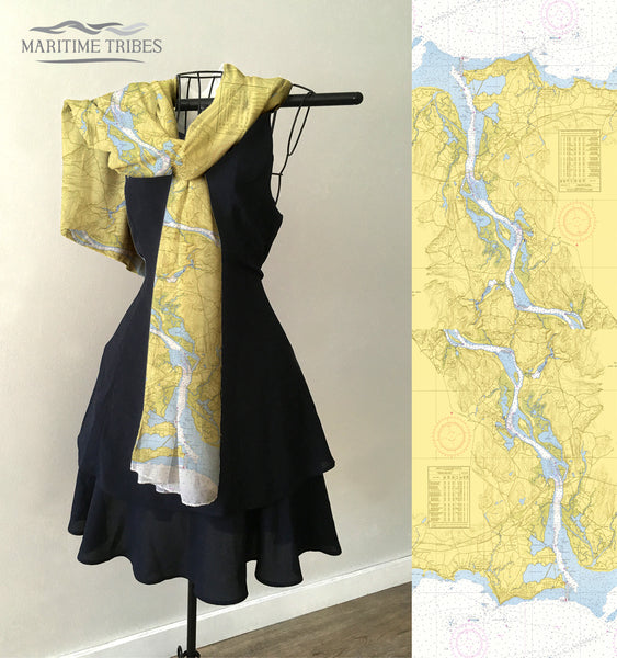 Old Saybrook, CT Nautical Chart Scarf